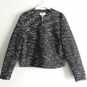 H&M Textured Black Zip Career Blazer Jacket 14